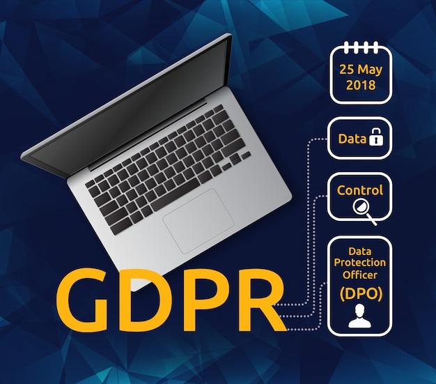 Ilustración de la vista superior de la computadora portátil y el reglamento general de protección de datos o gdpr con iconos explicativos. concepto de leyes de privacidad para usuarios