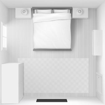 Ilustración de la vista superior interior del dormitorio