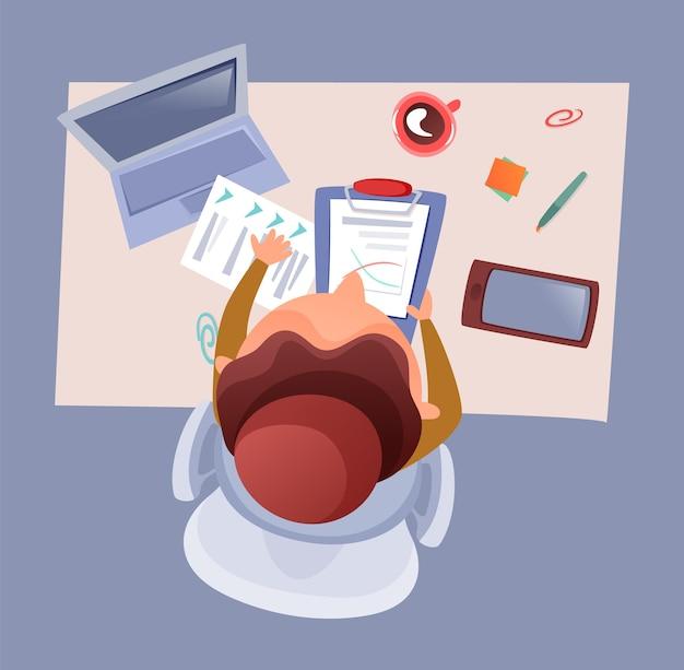 Ilustración de vista superior de mesa de oficina del hombre de negocios que trabaja en la oficina