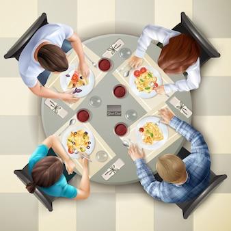 Ilustración de vista superior de personajes comiendo