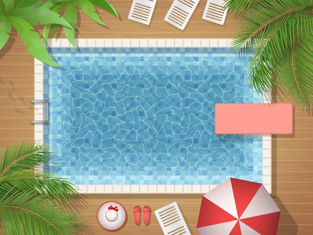 Ilustración de la vista superior de la piscina y la palma