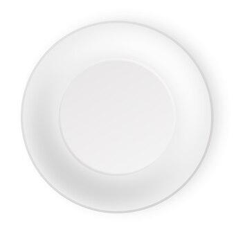 Ilustración de la vista superior de la placa blanca vacía. aislado sobre fondo blanco