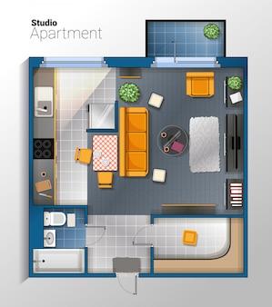 Ilustración de vista superior de vector moderno apartamento estudio