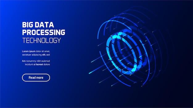 Ilustración de visualización de procesamiento de computadora de flujo de datos grandes