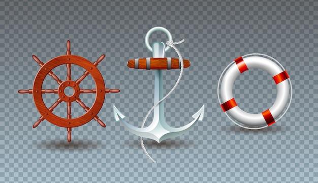 Ilustración con volante, ancla y colección de salvavidas.