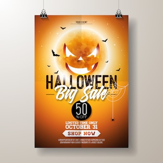 Ilustración de volante vector de venta de halloween
