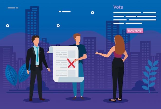 Ilustración de voto con gente de negocios