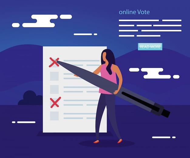 Ilustración de voto en línea con mujer y formulario de voto