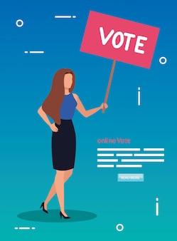 Ilustración de voto en línea con mujer de negocios