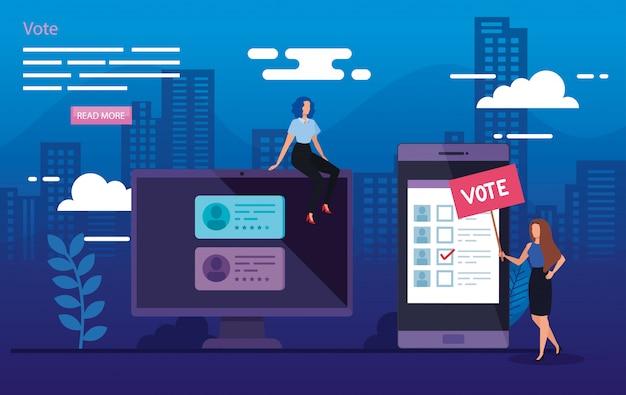 Ilustración de voto con mujeres de negocios en el paisaje urbano