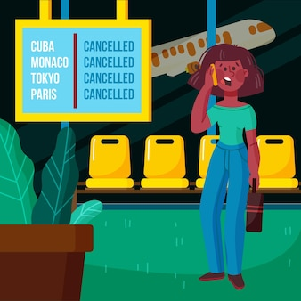 Ilustración de vuelo cancelado