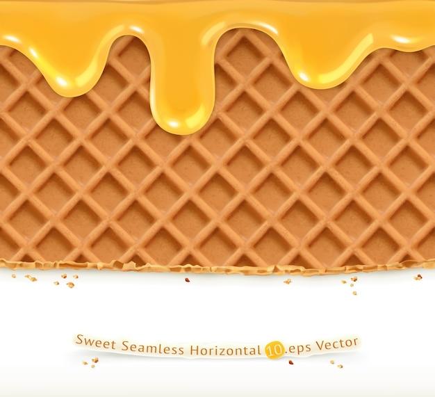 Ilustración de waffles y miel