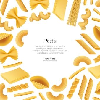 Ilustración de web de tipos de pasta realista