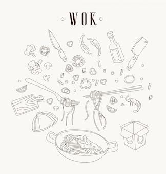 Ilustración de wok sartén asiática.