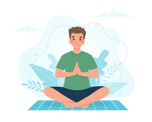 Ilustración de yoga en casa