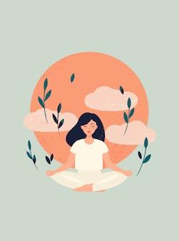 Ilustración de yoga chica meditación con sol y nubes