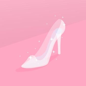 Ilustración de zapato de cristal de cenicienta