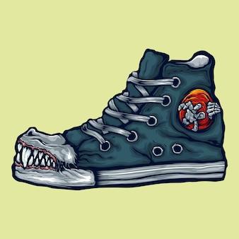 Ilustración de zapato dentado grande