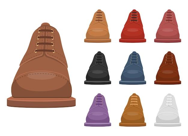 Ilustración de zapatos de cuero de hombre aislado en blanco