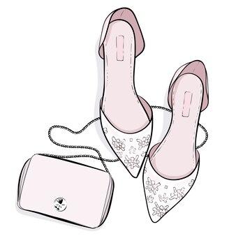 Ilustración de zapatos de moda y bolso