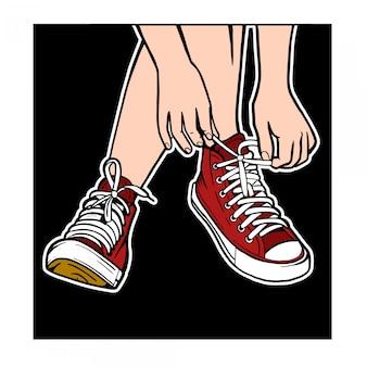 Ilustración de zapatos rojos de corbata