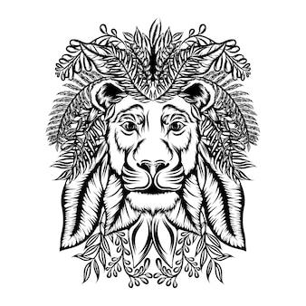 La ilustración del zentangle león con el adorno floral.