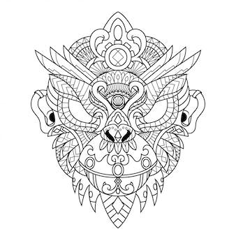 Ilustración de zentangle de mandala de mono en estilo lineal
