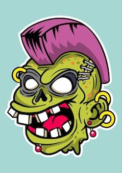 Ilustración de zombie punk en dibujado a mano