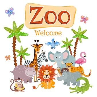 Ilustración de zoológico con animales salvajes de safari de dibujos animados