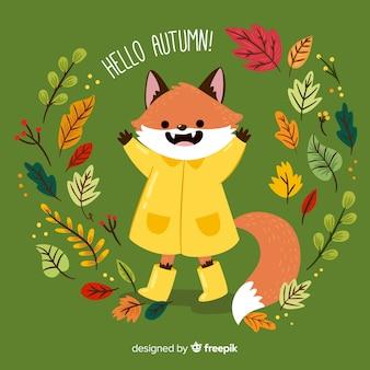 Ilustración zorro adorable con chubasquero y elementos de otoño