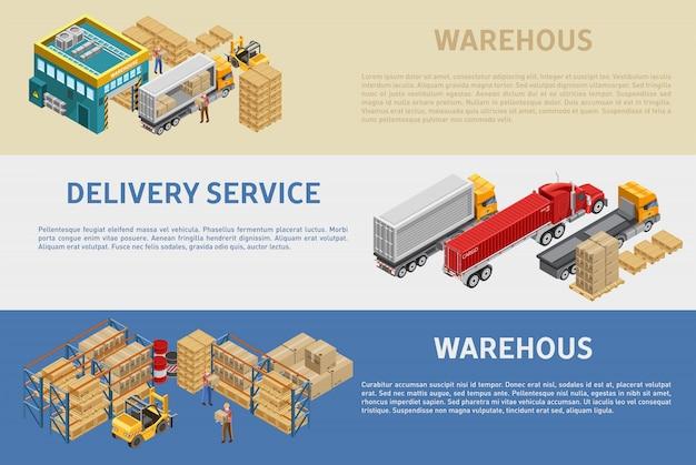 Ilustraciones de almacén y servicio de entrega con descripciones.