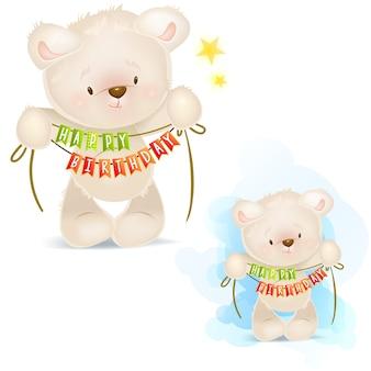 Las ilustraciones del arte de peluche del oso de peluche le desean un feliz cumpleaños