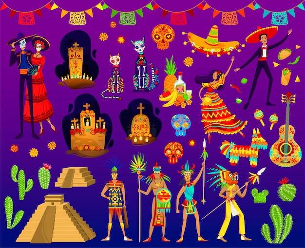 Ilustraciones aztecas mexicanas, dibujos animados con adornos folclóricos tradicionales o elementos de fiesta del día de muertos de méxico