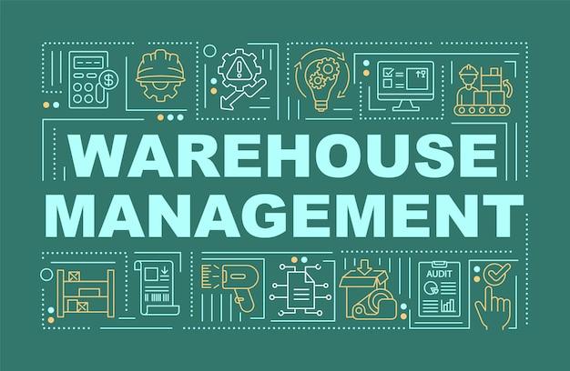 Ilustraciones de banner de conceptos de word de gestión de almacén