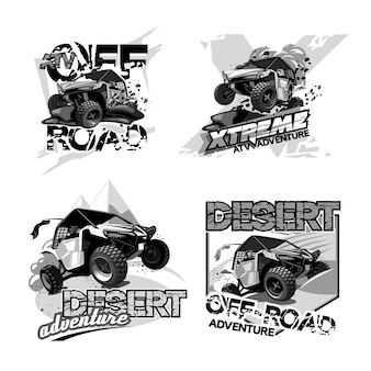 Ilustraciones en blanco y negro. off-road atv buggy