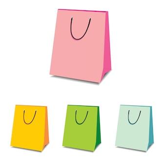 Ilustraciones de bolsas de compra en diferentes colores