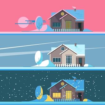 Ilustraciones de la casa familiar de invierno.
