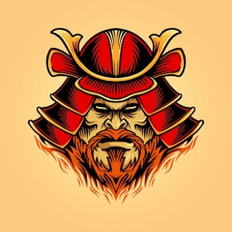 Ilustraciones un casco de guerrero shogun máscara de samurai