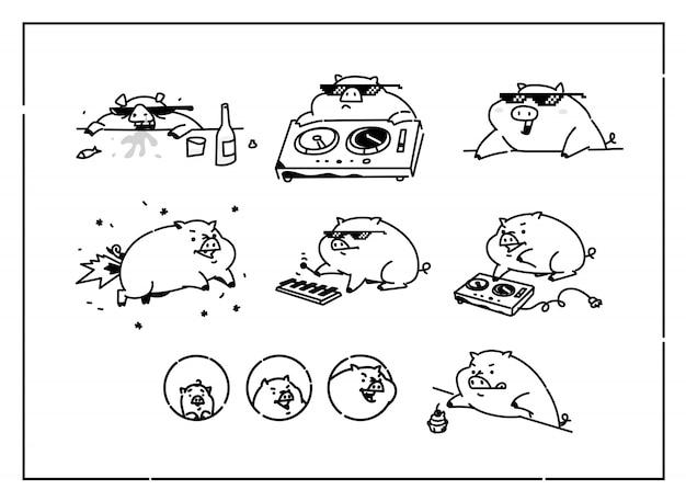 Ilustraciones de cerdos de dibujos animados. vector.