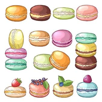 Ilustraciones coloreadas de deliciosos macarrones.