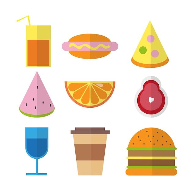Ilustraciones coloridas de comida rápida plana en colores brillantes aislados sobre fondo blanco