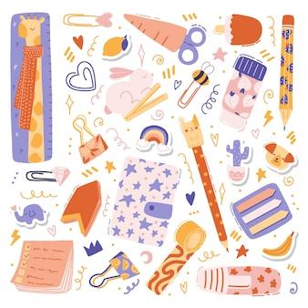 Ilustraciones coloridas con lindo juego de papelería: bolígrafo, lápiz, regla, bloc de notas, pegatinas, alfileres, tijeras, cinta con frutas y animales