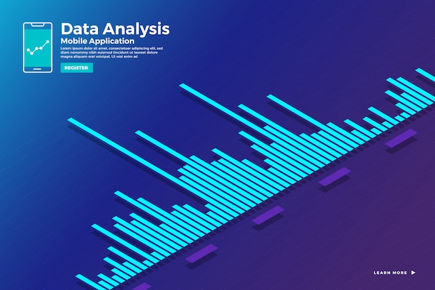 Ilustraciones concepto análisis de datos isométricos e informe gráfico de ingenio estático y gráfico de tabla. plantilla para banner de plantilla de sitio web. ilustrar.