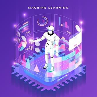 Ilustraciones del concepto de aprendizaje automático a través de inteligencia artificial con datos y conocimientos de análisis de tecnología. isométrico.