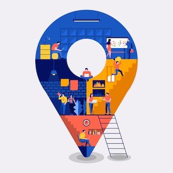 Ilustraciones concepto de diseño plano espacio de trabajo edificio iconos ubicación de pin