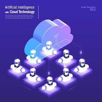 Ilustraciones del concepto de diseño de red digital con tecnología en la nube e inteligencia artificial