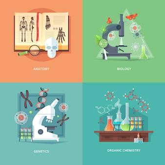 Ilustraciones del concepto de educación y ciencia. anatomía, biología, genética y química orgánica. ciencia de la vida y origen de las especies. .