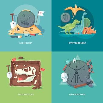 Ilustraciones del concepto de educación y ciencia. arqueología, criptozoología, paleontología y antropología. ciencia de la vida y origen de las especies. .