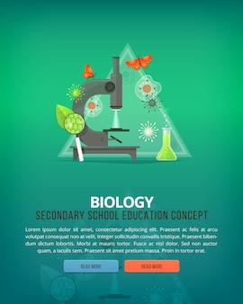 Ilustraciones del concepto de educación y ciencia. biología. ciencia de la vida y origen de las especies. bandera.
