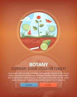 Ilustraciones del concepto de educación y ciencia. botánica. ciencia de la vida y origen de las especies. bandera.